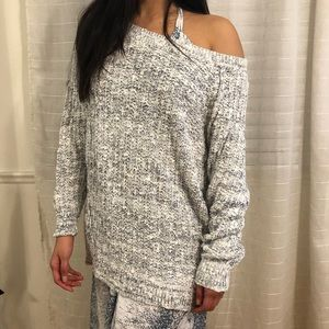 Light Blue & White Long Sleeve Knitted Sweater